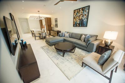 Stunning living room space at Bahamas One Cable Beach.